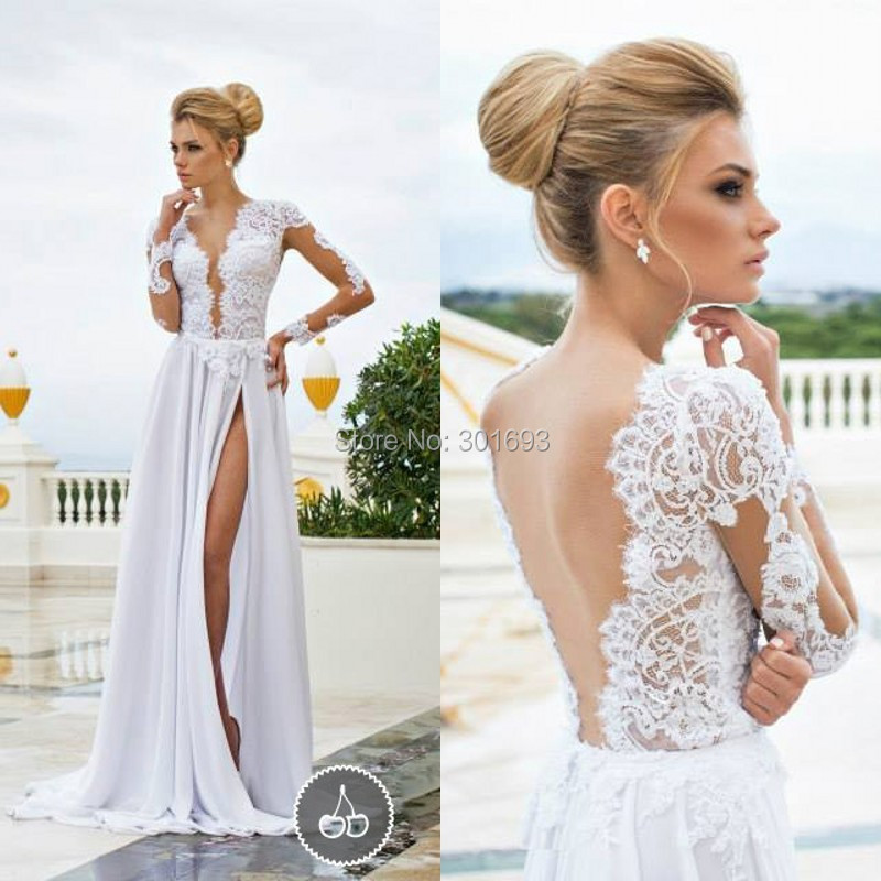 Ow87 flowy chiffon backless long sleeve high slit sexy for Dresses to attend wedding