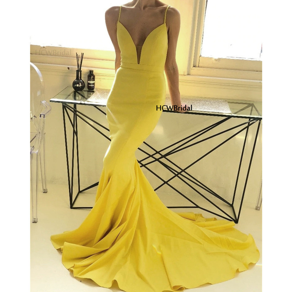Mermaid Yellow Simple   Prom     Dresses   Sweep Train Backless Spaghetti Strap Sexy Evening Gowns 2019 Hot Selling Women Occasion   Dress