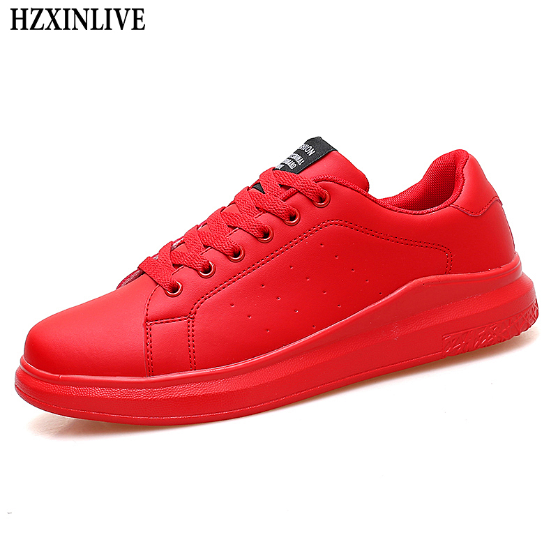 HZXINLIVE 2019 Women Vulcanized Shoes Sneakers Couple Lace-up Red Basket Shoes Breathable Walking Sewing Woman White Casual Flat