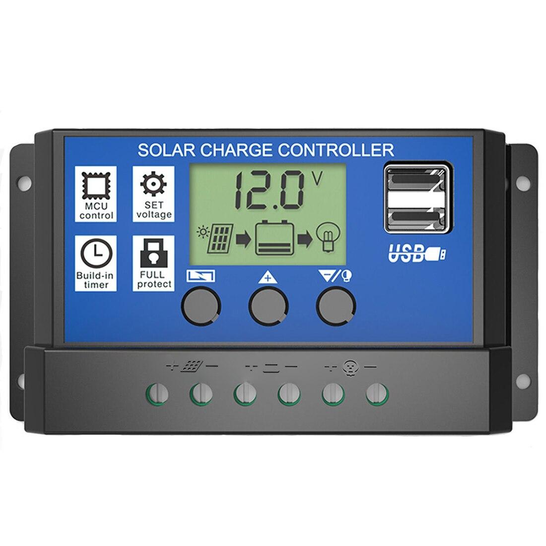 PWM 10/20/30Aควบคุมการประจุพลังงานแสงอาทิตย์12โวลต์24โวลต์จอแสดงผลLCDแบบDual USBแผงเซลล์แสงอาทิตย์ค่าใช้...