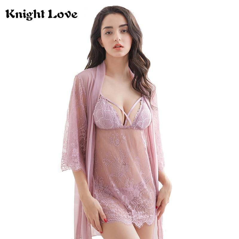Sexy Lace Nightgown Lingerie Fashion Patchwork Spaghetti Strap Nightdress  Women Sheer Scalloped Nightwear Sleepwear Chemises 076431939