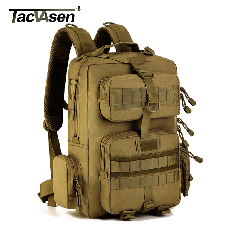 TACVASEN Men Military Molle Backpack 30L Camouflage Laptop Bags Waterproof Travel Backpack Army Green Combat Knapsack TD-SHZ-012 tacvasen men s tactics backpack travel shoulder bags camouflage rucksack 15 6 inches laptop camera military bag td szlm 017