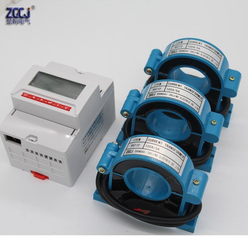 CJ 3DDY O ЖК дисплей дисплей AC 0 100A 3 фазы din Многофункциональный измеритель с RS485 связи с 1 реле измеритель мощности с CT