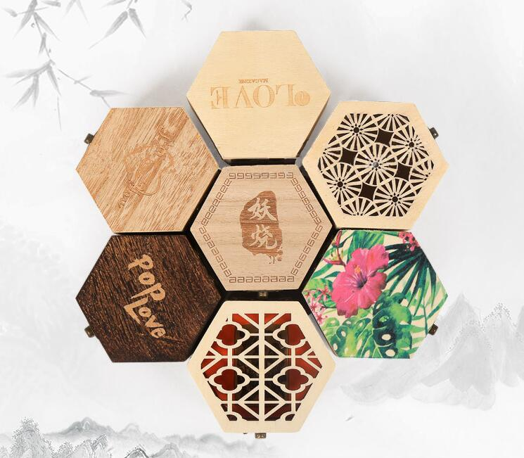 Case Container Earring Necklace Storage-Box Jewelry Cosmetics Wooden Hexagonal Small