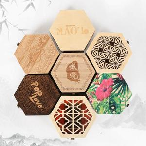 Small hexagonal Wooden Jewelry