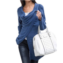 Women Sweater Knit Poncho Cotton Irregular Single Button Christmas Sweaters Women Autumn Loose Knitted Cardigans C50