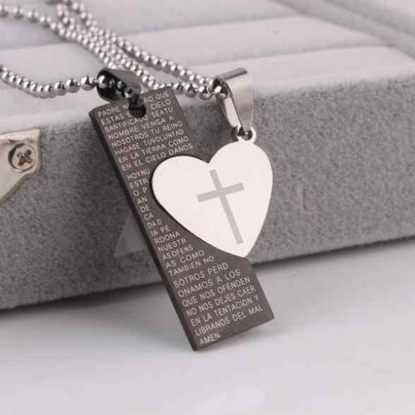 free shipping Lovers heart tag Holy Bible pendant necklaces bead chain for men women 316L Stainless Steel necklace wholesale