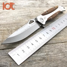 LDT Swordfish Folding Knife Damascus Blade Rosewood Steel Handle Camping Hunting Pocket Knives Outdoor Rescue Knife EDC Tools