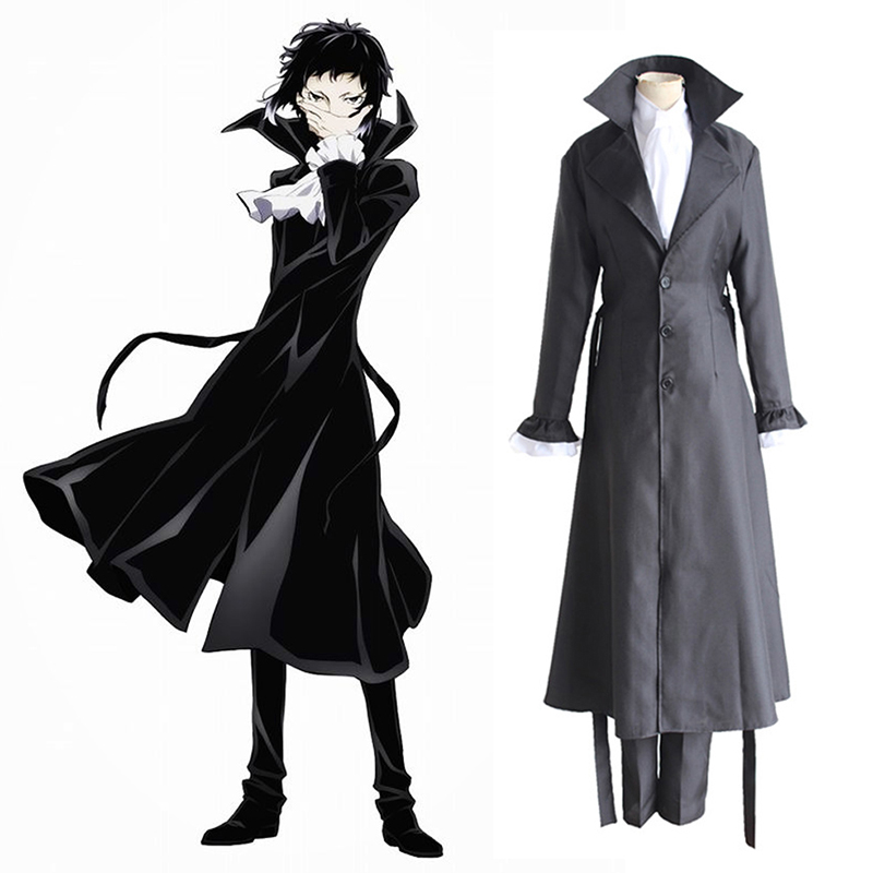 Bungo Stray Dogs Mafia Akutagawa Ryunosuke Cosplay Costume Anime Uniform Long Coat Trench Jacket Halloween Costume