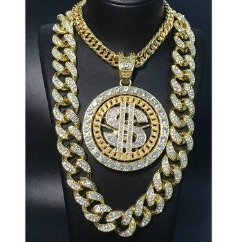 2CM Hip Hop Men Gold Sliver Color Necklace Ice Out Crystal Miami Dollar Sign Rock Pendant Bling Rapper Hip Hop Jewerly For Men