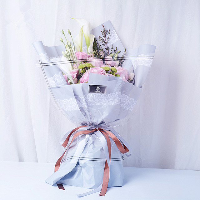 White Lace Flowers Bouquets Packaging Lace Paper Flowers Package ...