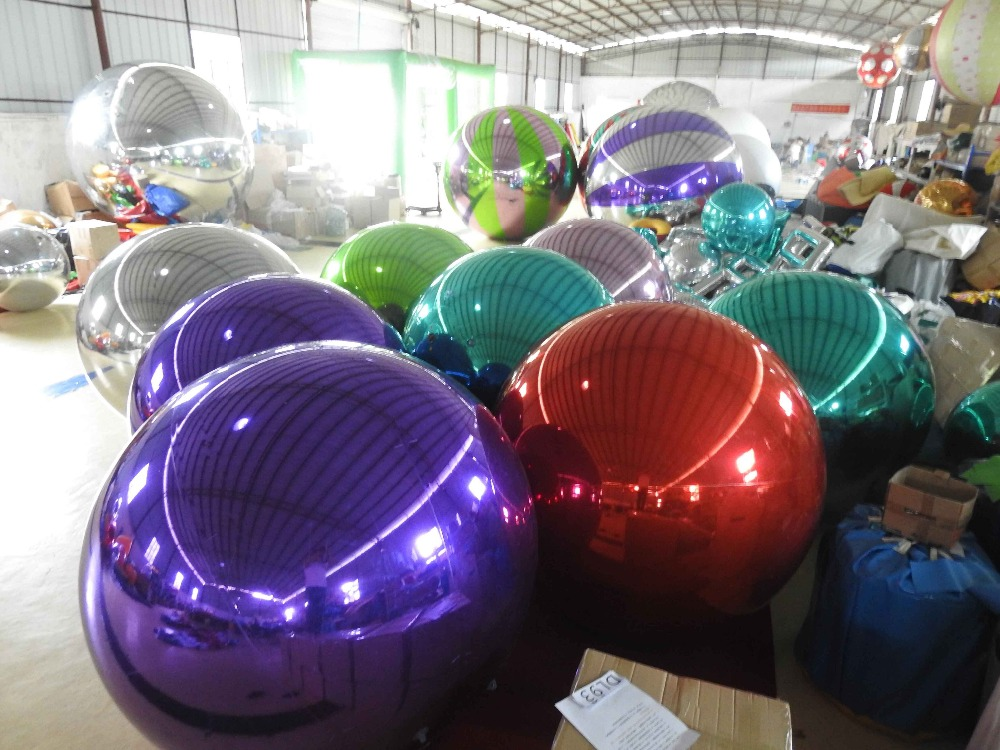 1m Inflatable Mirror Surface Christmas Ball Disco Mirror Ball Light Mirror Reflection Stage Festival Hanging Balloom colorfull light mirror reflection glass ball stage festival hanging ball motor 10inch 19cm