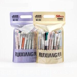 Image 2 - 50 шт./пакет, стираемая гелевая ручка, корейские кавайные канцелярские принадлежности, 0,5 мм, синяя гелевая чернильная ручка для школьников, оптовая продажа, Ruixiang M 50