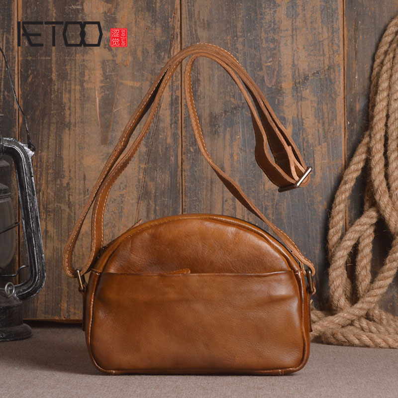 AETOO New ladies leather shoulder bag tannage hand color messenger bag fashion shell package