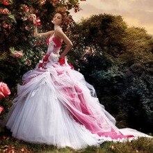 С открытым плечом Тюль бальное платье белый и красный винтажный Вдохновленный Кружева Свадебные платья Настоящее