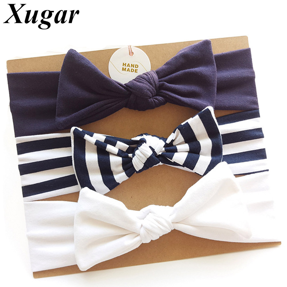 3Pcs/Set Child Striped Cotton Bow Knotted Headbands Stretchy Kids Hair Band Handmade Soft  Girls Hair Accessories