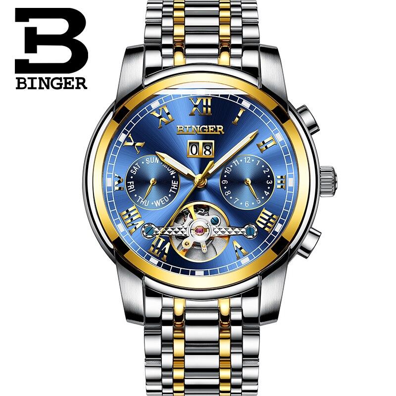 Relojes deportivos de moda Suiza BINGER Tourbillon reloj mecánico calendario zafiro luminoso impermeable reloj automático para hombre-in Relojes mecánicos from Relojes de pulsera    3
