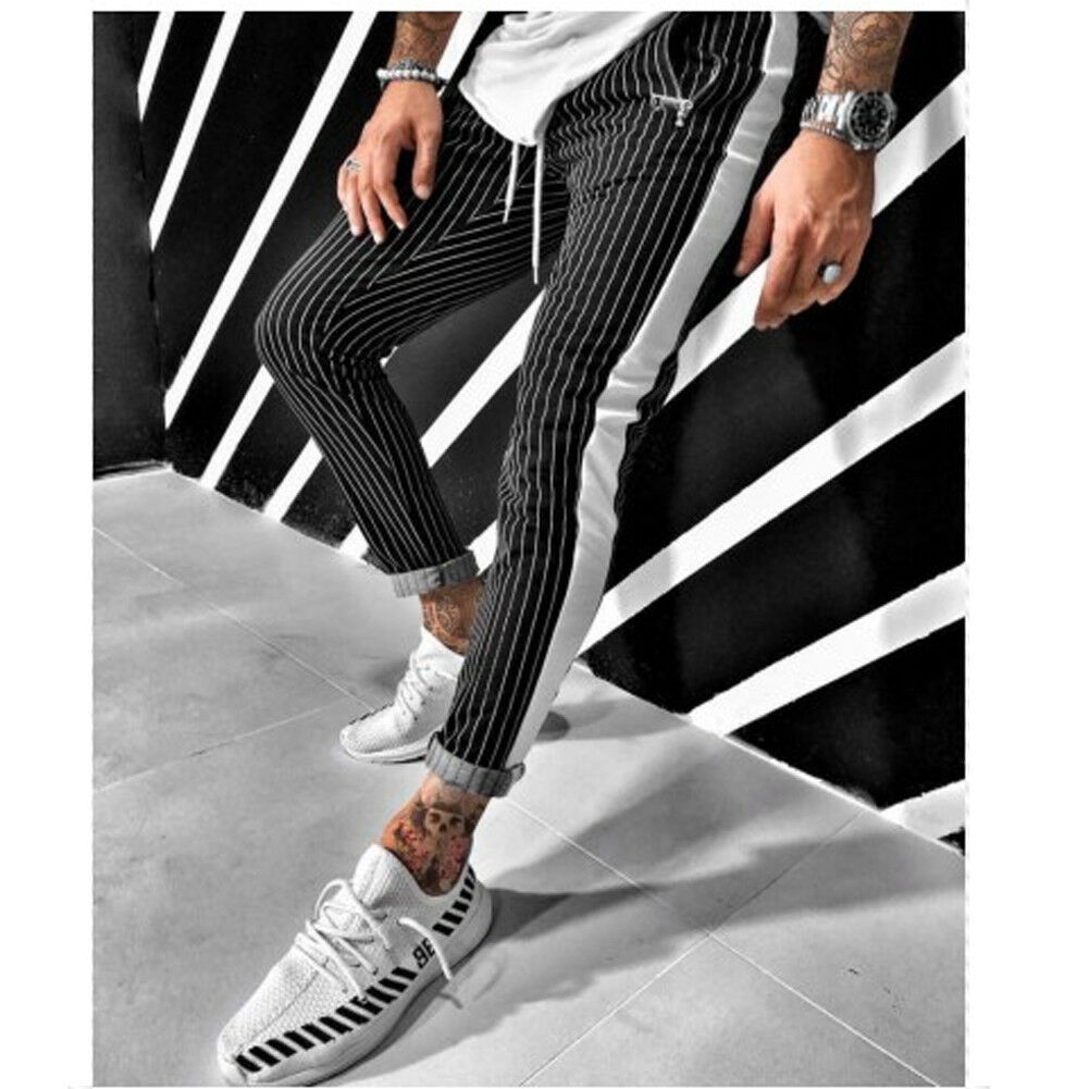 Gym Mens Trousers Stripe Tracksuit Fitness Workout Bottoms Skinny Joggers Sweatpants Male Track Slim Fit Pencil Pants Plus size(China)