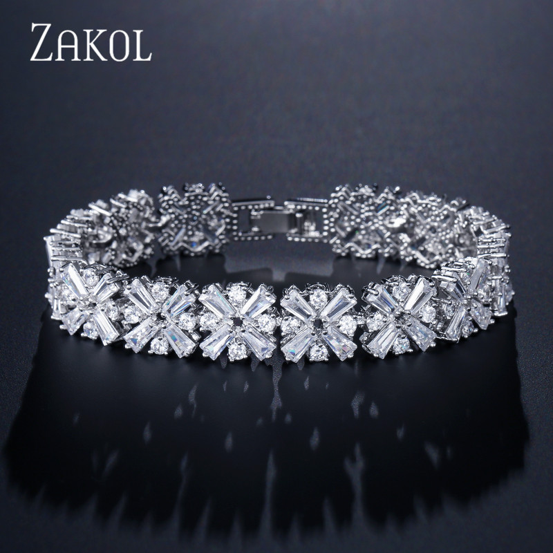 ZAKOL Women Fashion Jewelry Gorgeous Silver Color Spring Flower Cubic Zirconia Connected Tennis Bracelet for Brides FSBP010 цены онлайн