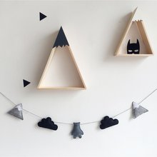 2018 Nordic Felt Fabric String Cloud Garland Party Banner Kids Room Hanging Wall Decor Tent Bed Mat Baby Shower Bunting Ornament(China)