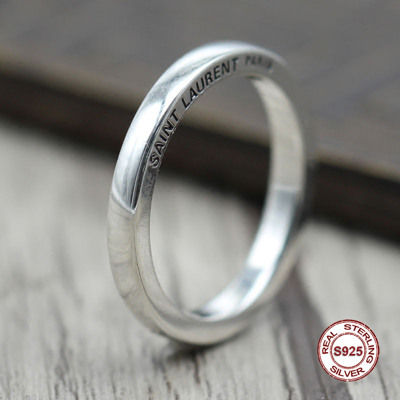 s925 sterling silver men ring Simple and elegant Retro letters Closed couple rings Classic style Send a gift to love gold and silver forever love steel couple ring for men 8 size