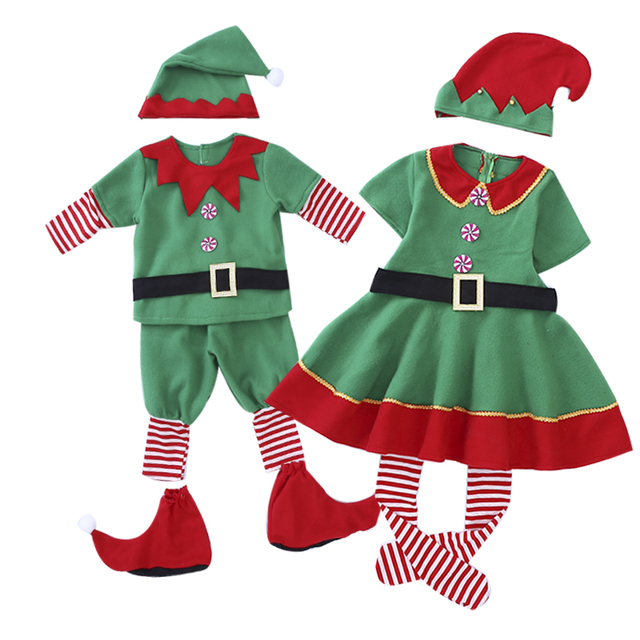 green christmas elf costumes for children christmas clothing christmas dress for girls funny costumes party clothes