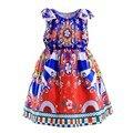 Vestidos de meninas Little Princess Red Impressão Flor Vestido de Verão Da Menina Da Moda Tops Bebê Crianças Um Pedaço de Roupas Casuais GD90124-532F