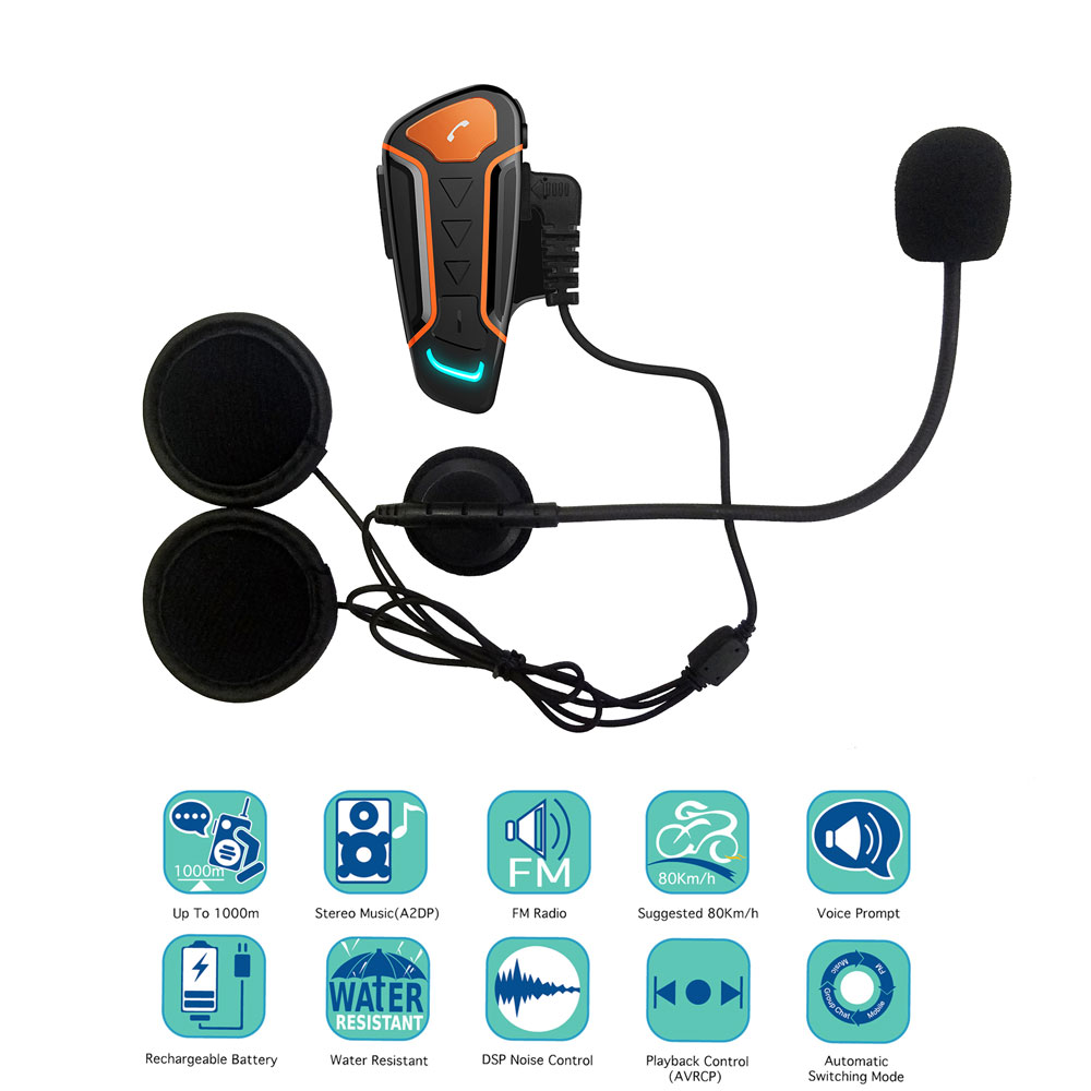 Waterproof  Motorcycle Helmet Intercom WT003 1000m Moto Bluetooth Interphone Headset With FM  Wireless Intercom