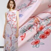 108cm 140cm Pieces Fashion Twill Printed Silk Fabric For Dress Telas Por Metros Pink Background Tissu