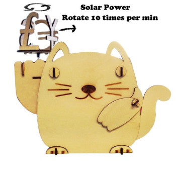 Scientific Educational DIY Solar Kits Plywood Solar Fortune Cat Piggy Bank Wooden Lucky Cat Money Box Cat DIY Kit Coin Bank image