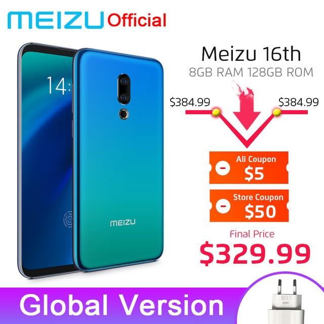 Meizu 16th SmartPhone 8 GB 128 GB Snapdragon 845 אוקטה Core 16 ה אנדרואיד טלפון Dual אחורי מצלמה ב- מסך טביעת אצבע