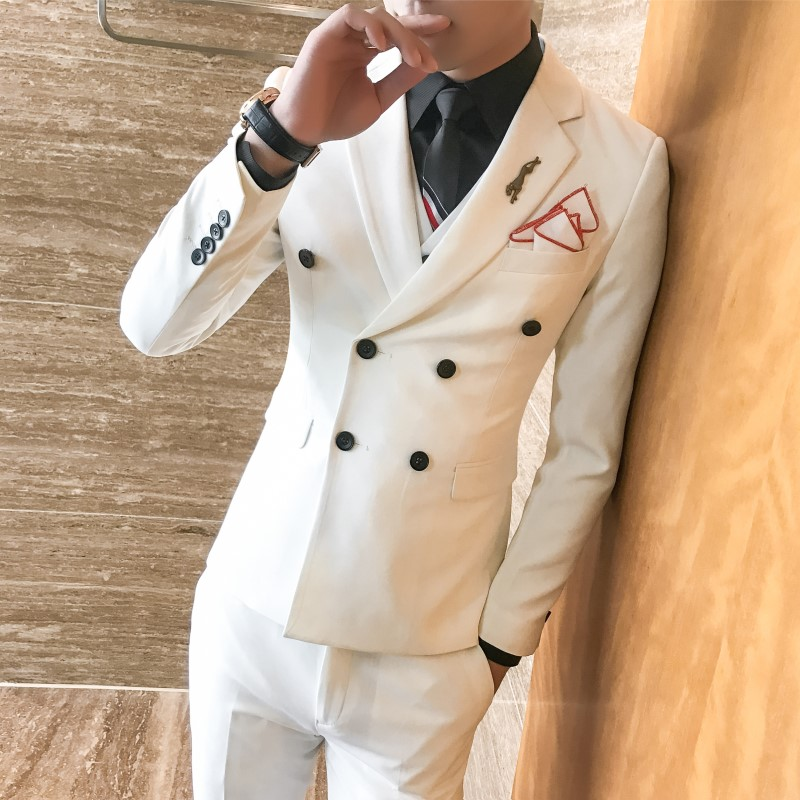 Men Double Breasted Suit Grey Red Royal Blue White Wedding Suits For Men Costume Homme Mariage 3 Pcs Men's Suits Formal Q544
