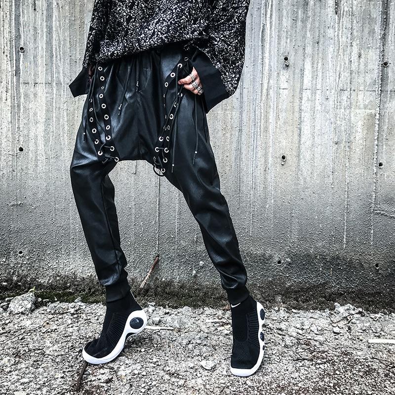 Hommes Costumes Pantalon Personnalité De Chanteur Nouveaux 2017 Bandage Vêtements En Stade Cuir Occasionnels Noir Harem Hiphop fgw5HXqx