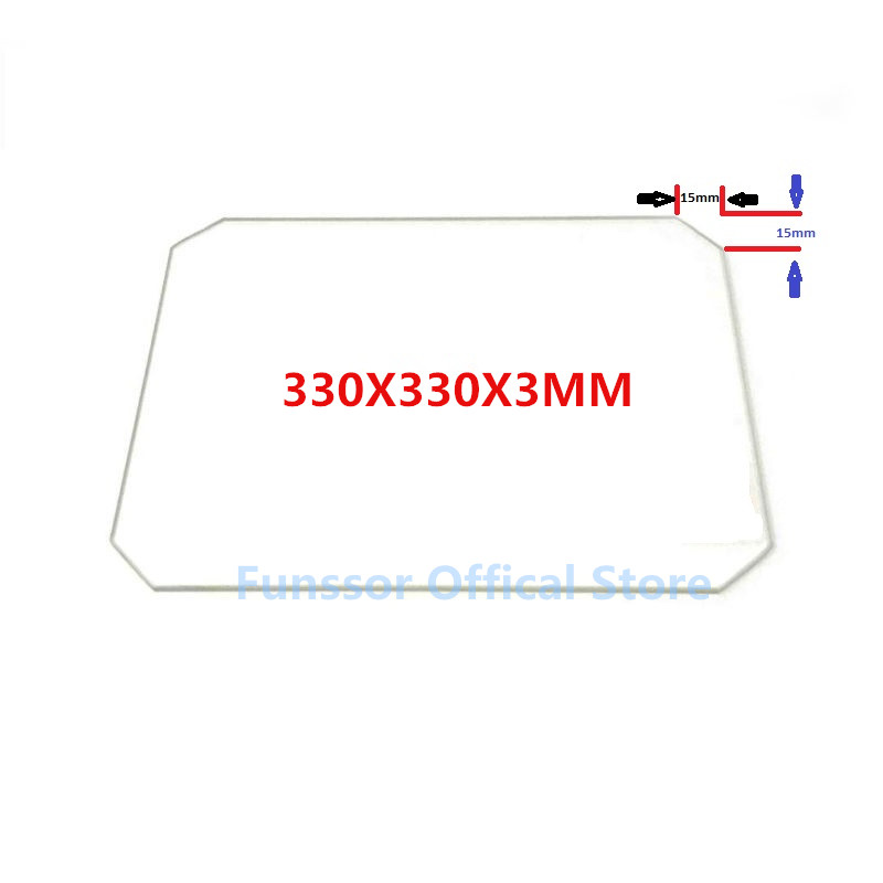 Funssor Large Printing Size Glass plate 330X330X3MM Borosilicate Glass plate for DIY 3D Printers
