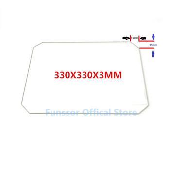 Funssor Large-Printing Size Glass plate 330X330X3MM Borosilicate Glass plate for DIY 3D Printers