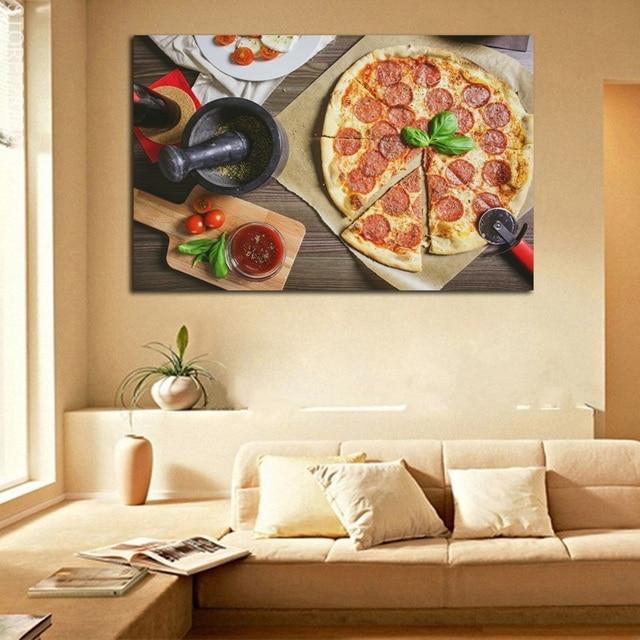 Affiche de peintures de Pizza | Art mural de Pizza, saucisse, imprimés dimages, délicieux Art, peinture sans cadre, toile dart pour décor de salon, 1 pièce