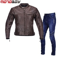 Free shipping 1set Mens Motocross Off road Windproof Keep Warm Leather Jacket Genuine Soft Cowhide Leather Motorcycle Jacket