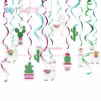 30 unids/set Alpaca fiesta Llama Cactus espiral de colgar decoraciones para baby shower Cactus Llama de suministros de fiesta de cumpleaños
