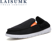 LAISUMK New Arrival Loafers Comfortable Casual Shoes Mens Canvas Men Slip On Brand Sneakers Fashion Flat