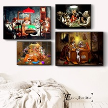 Dogs Playing Poker Funny Style Wall Art Canvas Painting Poster Prints Pictures For Bedroom Decoration Home Oil Paintings Decor