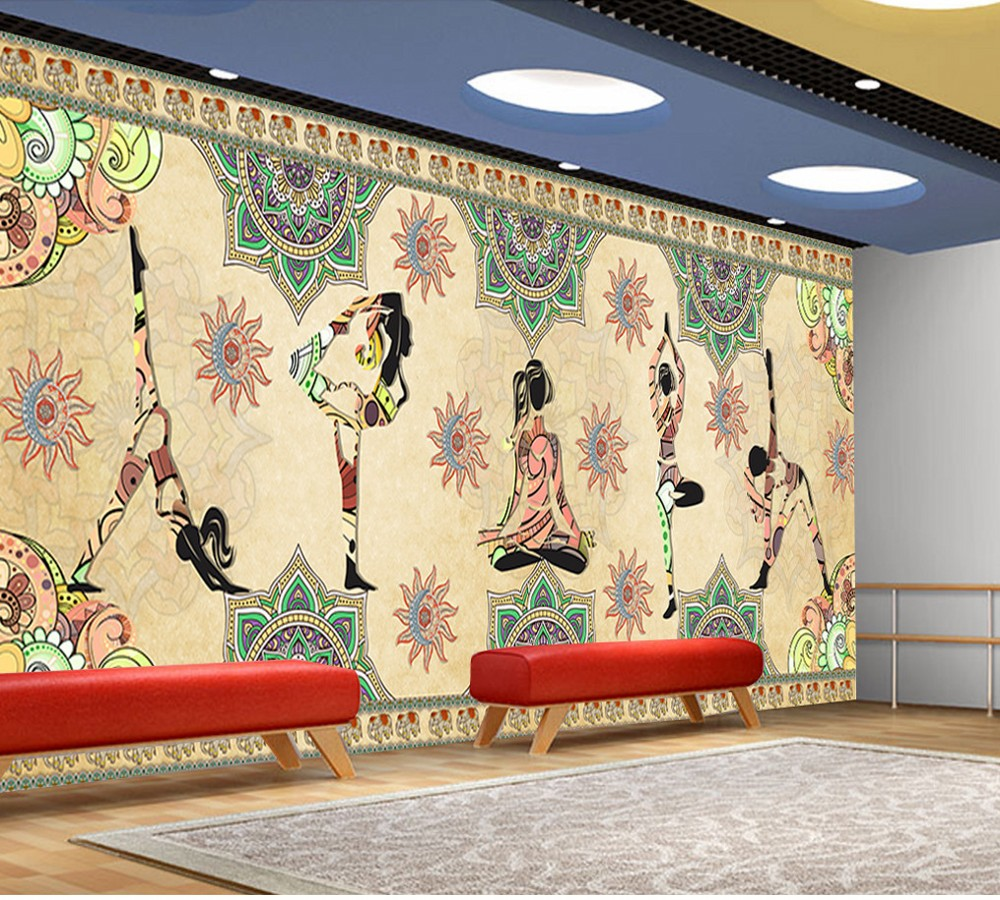 Free Shipping Custom Mural Retro Vintage Indian Yoga Background Wallpaper for Wall Decor Indian Mural Paintings Living Room free shipping chinese ink classical retro wallpaper mural living room tv room wallpaper