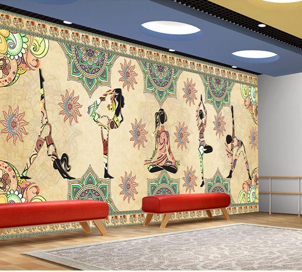 indian yoga paintings retro india mural living murals aliexpress hindu resistant water rooms