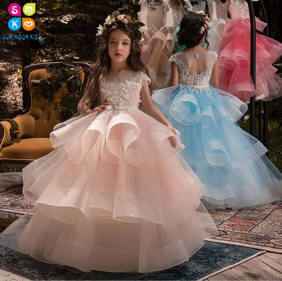 New Appliques Flower Girls Dresses For Weddings Lace Belt Ball Gown Birthday Children Girl Pageant Gown First Communion Dress цена