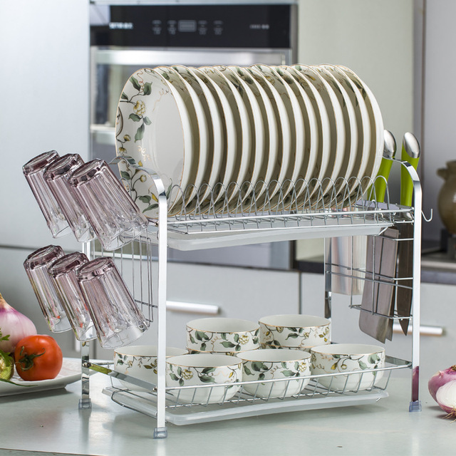 Kitchen Dish Shelf Plate Rack 2 Layers Plate Drain Rack Bowl Cutlery Cup Holder  Dish Drying