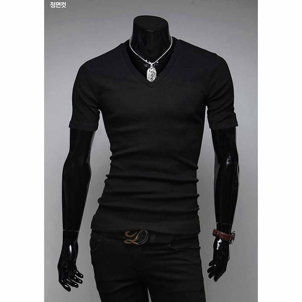 Nuevo estilo Simple de verano Camisetas Unisex de Color sólido de algodón para Fitness de manga corta Hombre Camisetas Camiseta de cuello en V marca Plus tamaño 5XL