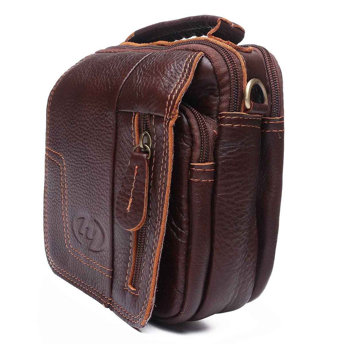 ФОТО 100% Genuine Leather Men's Bags Crossbody Vintage Style Brand Design Small Male Shoulder Handbags Business Brown Men Sling Bag