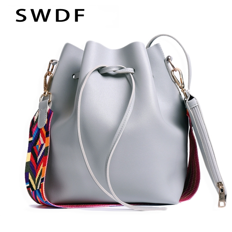 SWDF 2019 Women bag with Colorful Strap Bucket Bag Women PU Leather Shoulder Bags Brand Designer Ladies Crossbody messenger BagsSWDF 2019 Women bag with Colorful Strap Bucket Bag Women PU Leather Shoulder Bags Brand Designer Ladies Crossbody messenger Bags
