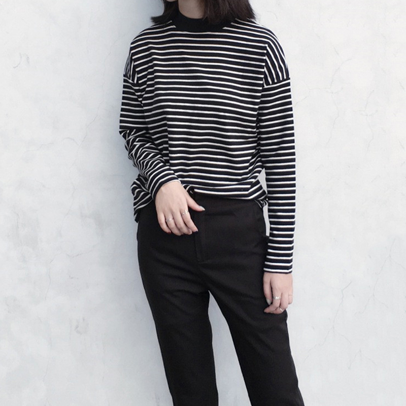 Women Harajuku T Shirt Korean Style Crop Top Turtleneck Long Sleeved Striped Tops Female T Shirt Casual Summer Tops