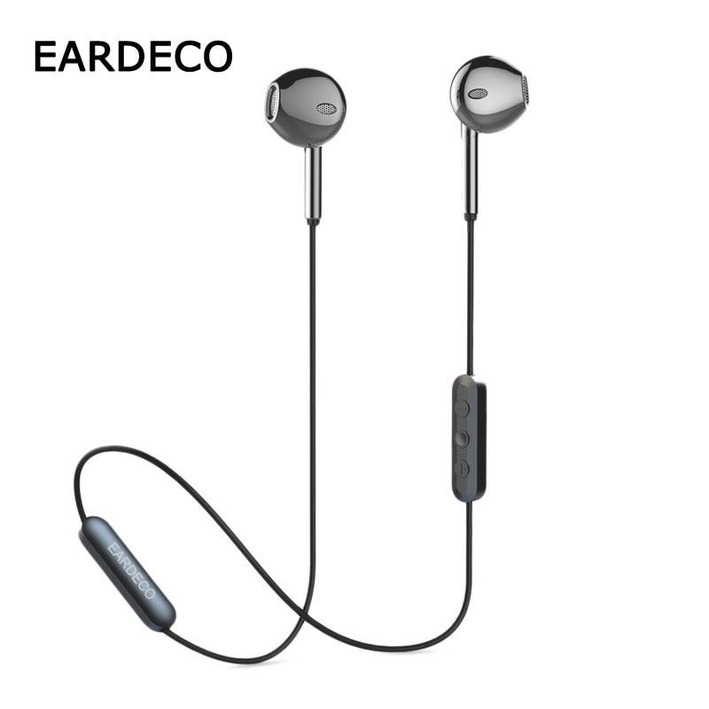 EARDECO Metal Heavy Bass Bluetooth Earphone Wireless Earpiece Stereo Earphones Headphones Sports Phone Earbuds Headset With Mic