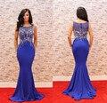 Azul marinho elegante longo vestido de noite o pescoço frisado fino jantar vestido mulheres pageant vestido para festa formal prom vestido de festa